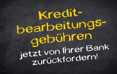 Kreidetafel mit Kreditbearbeitungsgebühren