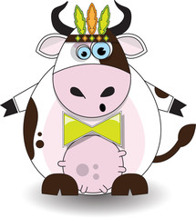 Vector illustration of cow with feathers