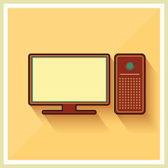 Personal Computer and Monitor Flat Vector Icon