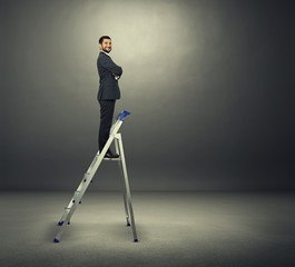 satisfied businessman on the stepladder
