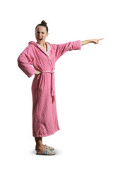 screaming woman in pink dressing gown