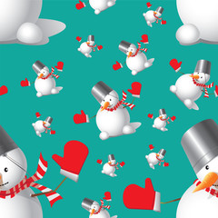 Seamless Christmas Snowman different sizes on a blue-green backg