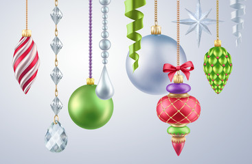 hanging Christmas ornaments, isolated elements