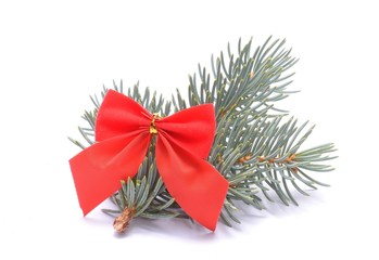 Christmas decorations - red ribbon and white spruce