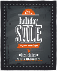 Holiday sale chalkboard.