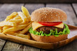 mini burger with French fries - 73745392