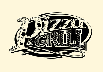 Pizza and grill symbol.