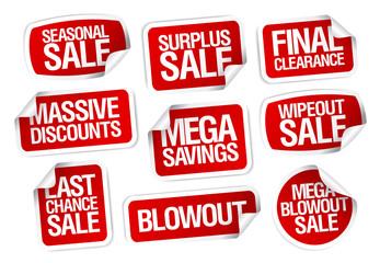 Mega savings sale stickers.