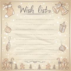 Christmas wish list illustration.