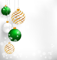 Green spiral christmas balls hang on white background
