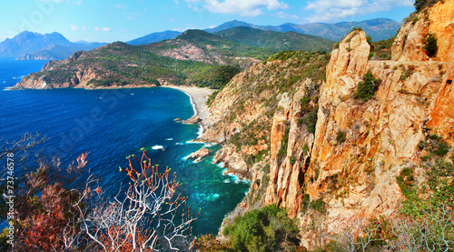impressive landscapes of Corsica - red rocks Calanques - 73746578