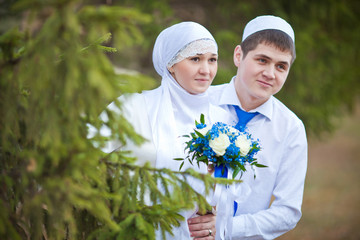 Мусульманский жених и невеста. Никах