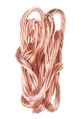 Copper wire isolated on white, energy industry