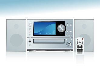 Generic compact stereo system with speakers and remote control