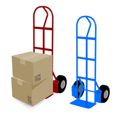 Hand truck cardboard boxes