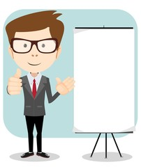 Friendly businessman, pointing to blank billboard, giving a