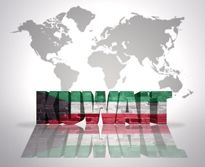 Word Kuwait on a world map background