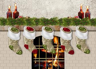 Christmas Stockings Hanging/Fireplace