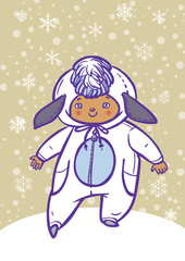 Funny vector cartoon colorfull child dressed as lamb
