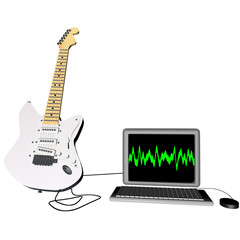 Guitar and laptop