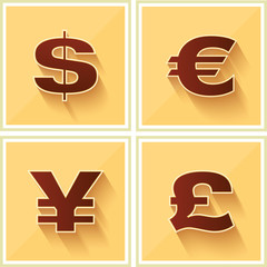 World Currency Symbols on Yellow Retro backgruond