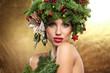 Christmas Woman. Beautiful New Year and Christmas Tree Holiday H