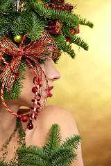 Christmas Woman. Beautiful New Year and Christmas Tree Holiday H