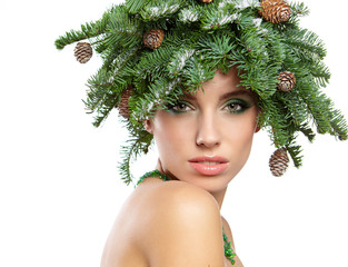 Beautiful New Year and Christmas Tree Holiday Hairstyle and Make