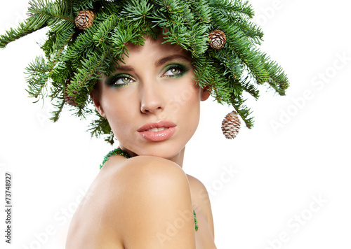 canvas print picture Beautiful New Year and Christmas Tree Holiday Hairstyle and Make