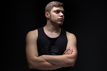 Image of the strong man looking away