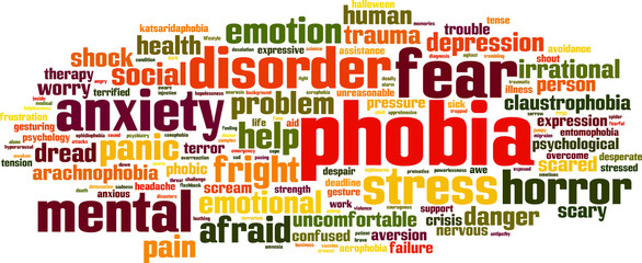 Phobia word cloud concept. Vector illustration
