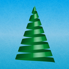 Vector christmas tree on blue ice background