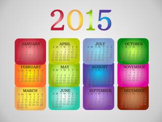 Original Rainbow Calendar 2015. Simple Calendar Template.