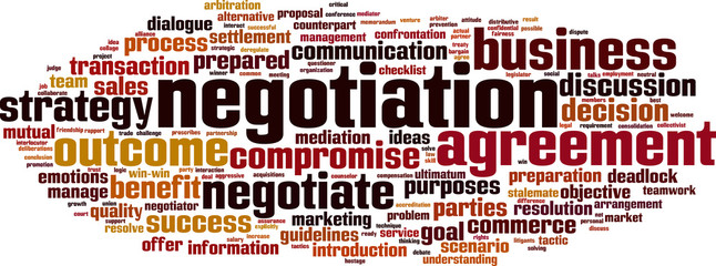 Negotiation word cloud concept. Vector illustration