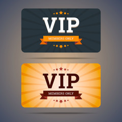 Vip club card design templates in flat style. Vector illustratio