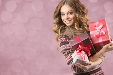 picture of cheerful girl with gift box on a white background