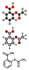 Acetylsalicylic acid (aspirin) pain relief drug molecule.