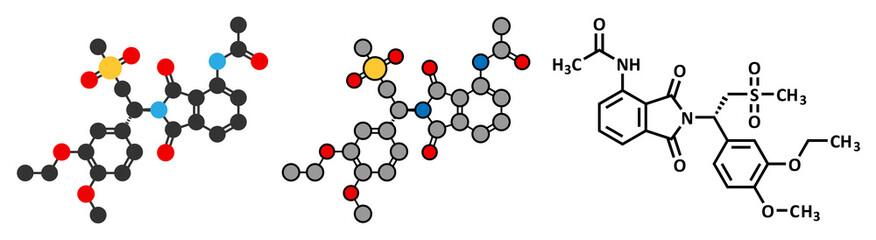 Apremilast psoriasis drug molecule.