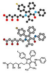 Atorvastatin cholesterol lowering drug (statin class) molecule.