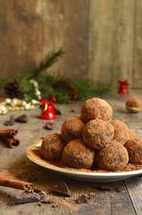 Homemade chocolate truffles .