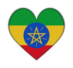 Ethiopia heart flag vector
