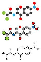 Chloramphenicol antibiotic drug molecule.