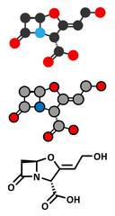Clavulanic acid beta-lactamase blocker drug molecule.