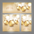 Merry Christmas and Happy New Year card with gold balls
