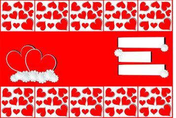 love valentine red hearts card