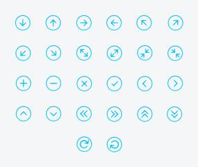 Thin line Arrows icon set. Vector illustration