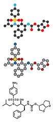 Darunavir HIV drug (protease inhibitor class) molecule.