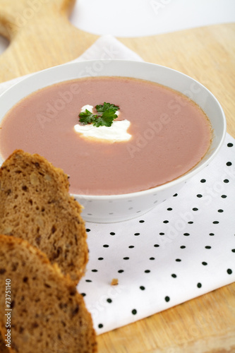 canvas print picture Tomatensuppe mit Rahm