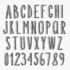 handwritten font, scribbled alphabet and numbers