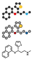 Duloxetine antidepressant drug (SNRI class) molecule.